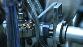 Closeup of machine wheel turning during work. stock video
