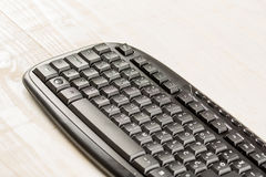Closeup macro black pc keyboard with black wireless mouse Royalty Free Stock Photos