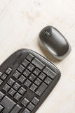 Closeup macro black pc keyboard with black wireless mouse Stock Photography