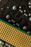 Closeup Macro of a Computer CPU Processing Chip Royalty Free Stock Images