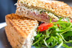 Closeup macro croque monsieur hot grilled sandwich with ham and cheese Royalty Free Stock Photo