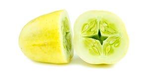 Closeup macro of cut apple crystal cucumber Stock Photo