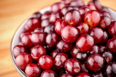 Closeup macro of delicious ripe red grapes Stock Images