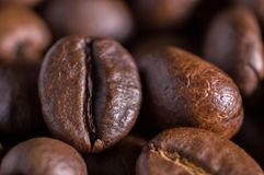 Closeup macro a group roasted brown or black coffee grains background. Closeup macro a group roasted brown or black coffee grains abstract background stock image