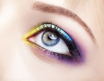 Closeup macro image of human female eye with violet, blue and an Royalty Free Stock Photo