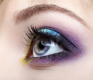 Closeup macro image of human female eye with violet, blue and an Royalty Free Stock Image