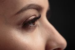 Closeup macro photo of woman`s eyes with long lashes and natural makeup. Close up macro photo of woman`s eyes with long lashes and natural makeup stock photo