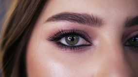 Closeup macro portrait of female face. Young girl with green eyes with beautiful makeup and long black eyelashes. Girl. With perfect skin and freckles open her stock video footage