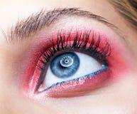 Closeup macro shot of closed human female eye with pink smoky eyes shadows. Closeup macro shot of closed human female eye. Woman with natural evening vogue stock image