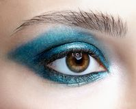 Closeup macro shot of human female eye. Girl with perfect skin a royalty free stock images