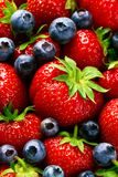 Closeup Macro of Tasty Ripe Red Strawberry with Fresh Blue Berries. Pile Hipe of Summer Berries Fruits. Summer Healthy Food. Concept stock images