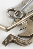 Closeup macro used old tools wrench  over white background Royalty Free Stock Photography
