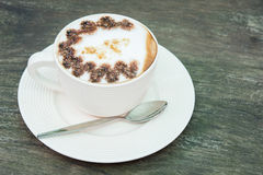 Closeup macro white cup foam coffee Royalty Free Stock Images