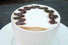 Closeup macro white cup foam coffee Stock Photo