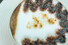 Closeup macro white cup foam coffee Stock Image