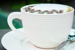 Closeup macro white cup foam coffee Stock Images