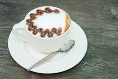 Closeup macro white cup foam coffee Royalty Free Stock Image