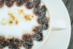 Closeup macro white cup foam coffee Stock Photography