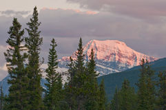 Closeup of majestic mountain at sunset Royalty Free Stock Images