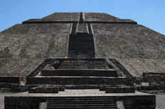 Closeup of majestic Pyramid of the Sun at Teotihuacan Stock Images