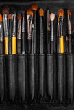 Closeup of makeup brushes Royalty Free Stock Photos