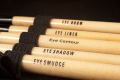 Closeup of makeup brushes royalty free stock photography