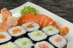 Closeup of maki and nigiri sushi Stock Photo