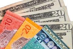 Closeup of Malaysia Ringgit and American US Dollar Royalty Free Stock Photo