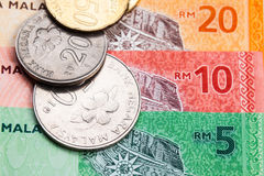 Closeup of Malaysia Ringgit currency notes and coins Royalty Free Stock Images