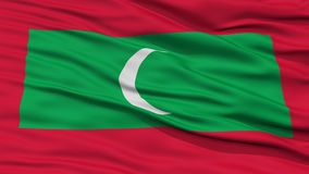 Closeup Maldives Flag. Waving in the Wind, High Resolution Royalty Free Stock Photos