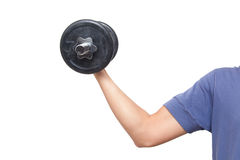 Closeup of a male arm contracting the biceps Stock Photo