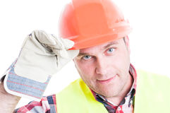 Closeup of male constructor doing salutation gesture Royalty Free Stock Photography