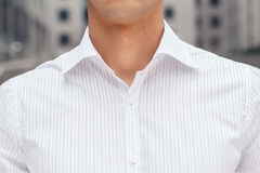 Closeup on male elegant shirt with collar Royalty Free Stock Photo