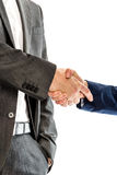 Closeup of male and female business partners shaking hands Stock Photos