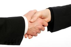 Closeup of male and female executives shaking hand Royalty Free Stock Photography