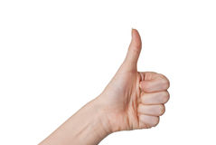 Closeup of male hand showing thumbs up sign Stock Photography