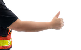 Closeup of male hand showing thumbs up sign against isolated Royalty Free Stock Photography