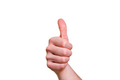 Closeup of male hand showing thumbs up sign against white background stock photos