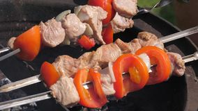 Closeup of male hands turn over the skewers of meat with vegetables. Close-up, men`s hands turn over for better preparation a skewer of meat and vegetables stock video