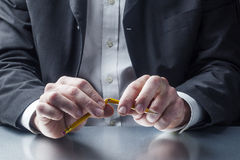 Closeup on male professional hands challenged by stress Royalty Free Stock Image