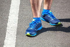 Closeup of a male runner standing. Space for text. Fitness concept Royalty Free Stock Photography