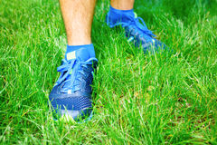 Closeup of a male runner standing. Space for text. Fitness concept Royalty Free Stock Images