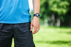 Closeup of a male runner standing. Space for text. Fitness concept Stock Image