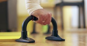Closeup of a man being wrung out from the floor at home. stock video