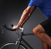Closeup of Man on Bicycle Stock Images