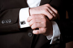 Closeup of a man in black suit royalty free stock photography