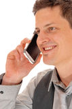 Closeup man on cell phone. Royalty Free Stock Images