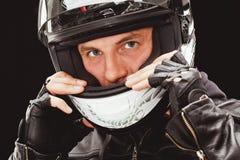 Closeup man face wearing helmet Royalty Free Stock Photography
