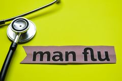 Closeup man flu with stethoscope concept inspiration on yellow background royalty free stock photo