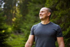 Closeup of a man in the forest Stock Photo